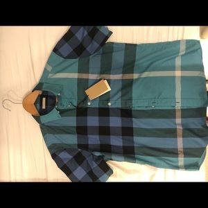 Cyan green burberry short sleeve dress shirt
